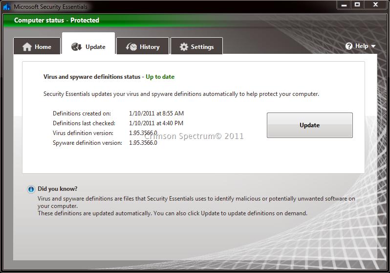 Manually Updating Microsoft Security Essentials | Crimson Spectrum